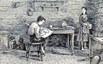 Abraham Lincoln Childhood: Lincoln and his sister studying by firelight