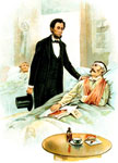 Abraham Lincoln Civil War: Lincoln visiting a hospital