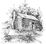 Abraham Lincoln Home: The log cabin in Illinois which Lincoln helped his father build