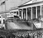 Abraham Lincoln Presidency: President Lincoln making his first inaugural address