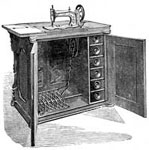 Antique Singer Sewing Machines: The New Family with Cabinet Case Open for Use