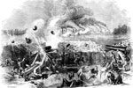 Battle of Fort Henry: Bursting of a 42-Pound Gun in Fort Henry During the Bombardment