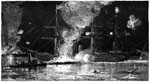 Battle of Fort Jackson: Flagship Hartford attacked by a Fire Raft, Pushed by the Confederate Tug Boat Mosher