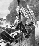 Battle of Fort Sumter: Police-Sergeant Hart nailing the flag to a temporary flagstaff