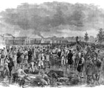 Battle of Roanoke Island: Bringing Confederate Prisoners Into the Catured Camp Behind Fort Huger, Roanoke Island, After the Battle