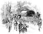 Battle of Shiloh Pictures: Stragglers on the Way to the Landing and Ammunition Wagons Going to the Front