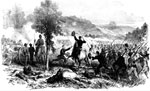 Battle of Wilsons Creek: The Charge of the First Iowa Regiment with General Lyon at its head at the Battle of Wilsons Creek