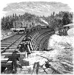 Central Pacific Railroad: Long Ravine, Howe Truss Bridge and Trestle - 115 feet High
