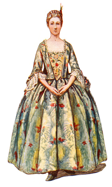 Colonial Clothes: Colonial Gown of Brocade imported from China, circa