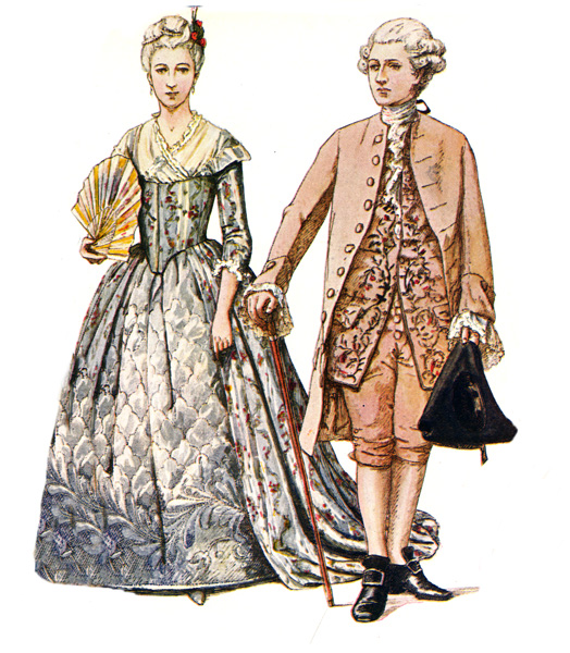Colonial Dress A Rich Brocade Dress And A Suit Of Uncut Velvet