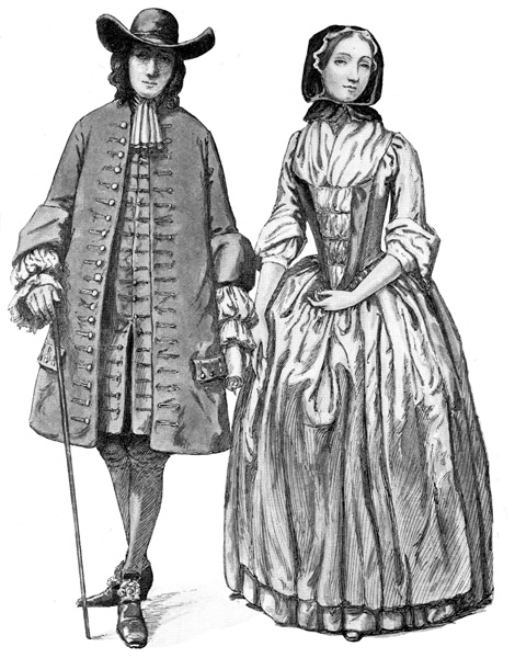 Colonial Fashion Quaker Gentleman Lady