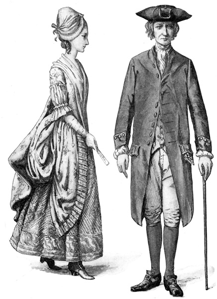 Colonial People: Costumes of a Young Lady & a Businessman, circa 1770
