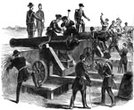 Fort Moultrie: Spiking the guns at Fort Moultrie by Major Anderson, before its evacuation on December 26, 1860
