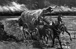 Horse Drawn Wagons: A Prairie Windstorm