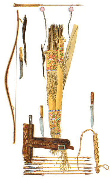 Indian weapons knives sheaths bow bow case quiver and arrows