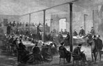 Lincoln Conspiracy: The courtroom of the old penitentiary, Washington, during the trial of the conspirators