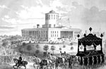 Lincoln Funeral: Funeral car - President Abraham Lincoln - passing the state house at Columbus