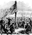 Major Robert Anderson: Major Anderson raising the Union Flag on Fort Sumter, Dec. 27, 1860