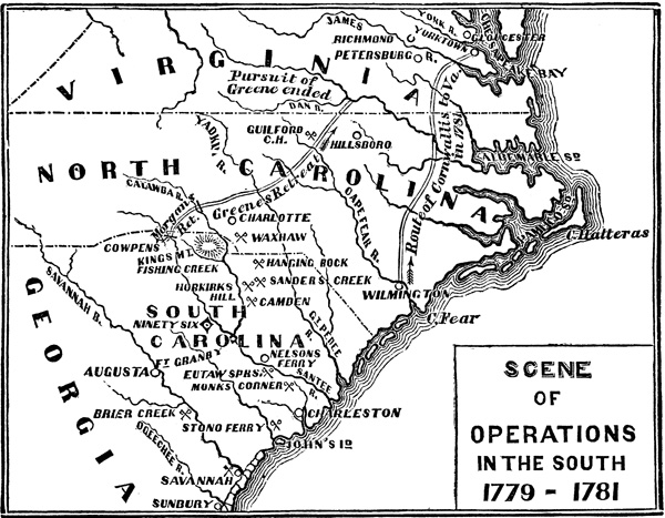 Maps Of Battles Of The Revolutionary War Scene Of Operations In The South 1779