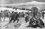 Mormon Pioneers: The Mormon Hand-Cart Company Crossing the Plains