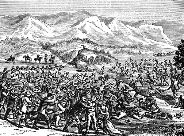 mountain meadow massacre The mountain meadows massacre mountain meadows is a narrow valley five miles in length, situated three hundred and twenty miles south and a little west of salt lake .