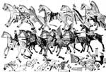 Native American Art: Facsimile of an Indian Drawing by Red Horse, a Sioux, Showing the Sioux Fighting Custer's Battalion in the Battle of the LIttle Big Horn