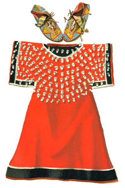 Native American Clothing: Cheyenne Squaw Dress Ornamented with Elk Eye