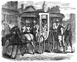 Pictures of the Underground Railroad: Escaping with master's carriages and horses - Harriet Shephard, her five children, with five others