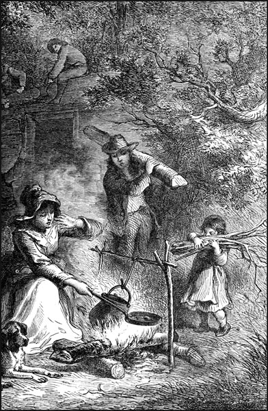 Frontier Pioneer Life....middle woman is cording the wool ...   Pioneer Life