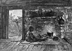 Plantation Pictures: Interior of a slave cabin