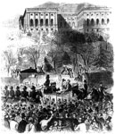 President James Buchanan: Inaugural procession at Washington passing the gate of the Capitol grounds