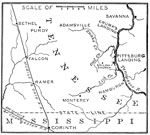 Shiloh Battle Maps: Outline Map of the Shiloh Campaign