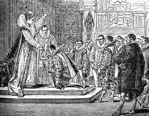 Queen Elizabeth I knights Francis Drake