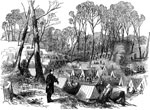 The Battle of Yorktown: Camp of the 9th Massachusetts in the Woods One Mile from the Confederate Fortification, Yorktown, April 10, 1862